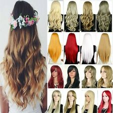 """New Straight Curly 28"""" Full Wig Kanekalon Heat Resistant Hair Wigs 20+ Color gh7"""