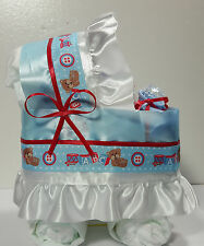 Diaper Cake Bassinet Carriage Baby Shower Gift ABC for Boy - Bib and Wash Cloth