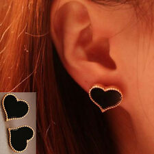 HOT Stylish Clover Heart Love Earrings Ear Stud Black Red Style Wholesale 1 Pair