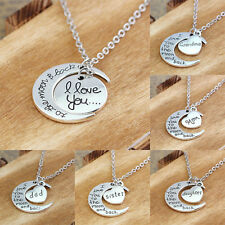 I Love You To The Moon And Back Silver Heart Family Necklace Pendant Xmas Gifts