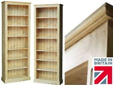 "Solid Pine Bookcase,7ft Tall x 30"" Wide Waxed Display Shelving Unit, Bookshelves"