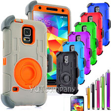 Samsung Galaxy S5 Belt Clip Holster Combo Cell Phone Case With Kick Stand Cover