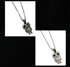 OWL pendant necklace clear RHINESTONES gold tone or silver tone petite size new