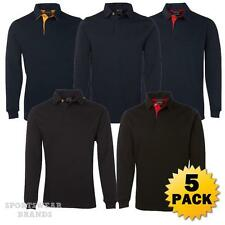 5 x Mens 2 Tone Rugby Top Polo Pullover Shirt Jumper Cotton Warm Contrast 3RT