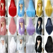 New Fashion Womens Wigs Long Natural Straight Anime Cosplay Party Full Wig 80cm