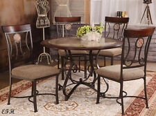 NEW 5PC BARRIE FAUX MARBLE TOP CHERRY WOOD DARK METAL ROUND DINING TABLE SET
