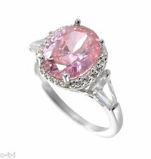 Large Pink Sapphire Oval Cut w/ White Sapphire Baguette Sterling Silver Ring