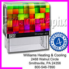 Custom Personalized 4 LINE ADDRESS Self Inking Rubber Stamp Rainbow Cube Theme