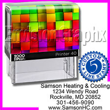 Custom Personalized 5 LINE ADDRESS Self Inking Rubber Stamp Rainbow Cube Theme
