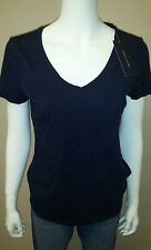 NWT WOMENS AUTHENTIC TOMMY HILFIGER SLUB V-NECK NAVY TEE SHIRT! VARIETY OF SIZES