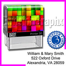 Custom Personalized 3 LINE ADDRESS Self Inking Rubber Stamp Rainbow Cube Theme