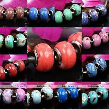 5pcs MOP Shell Synthesis Howlite Turquoise European Beads For Charm Bracelet DIY