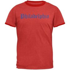 Cities Vintage Old English Philadelphia Heather Red-Red Men's Ringer T-Shirt