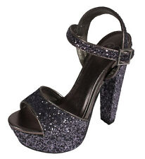 Audora Delicious Peep Toe Platform Ankle Strap Chunky Heel Sandal Pewter Glitter