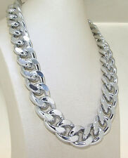 "New Charm Shiny Cut Silver Plated Chunky Aluminium Curb Chain Necklace18"" 24""38"""