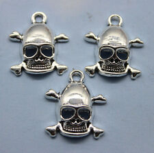 Free shipping 20/60/100pcs retro style skull alloy charms pendants 19 x 17mm