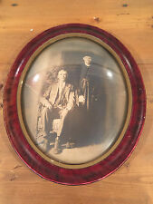 Antique Large Oval Wood Frame w/ Roses Convex Domed Glass Early 1900's