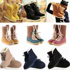 Women Winter Warm Fur Lined Ankle Snow Boots Lace Up Flat Heel Mid Calf Shoes