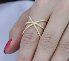 COCKTAIL YELLOW GOLD OVER STERLING SILVER CZ FASHION RING WOMEN'S SIZE 6-9  S923