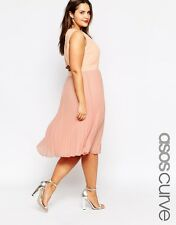 ASOS CURVE Pleated Sheer & Solid Midi Dress RRP £42 (AS14/10)
