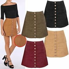 NEW WOMENS RIB CORD A LINE MINI SKIRT BUTTON FRONT FAUX SUEDE LOOK LADIES SHORT
