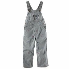 New OshKosh Boy Gray Canvas Rocket Space Embroidered Overalls NWT 18 2t 3t 4t 5t