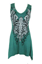 New Vocal Women Shark Bite Tunic Tank V-neck Crystal Roses Fleur Angel Wings