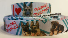Grosgrain Ribbon, I Love German Shepherds Dogs with Teal Chevron Red Hearts, 7/8