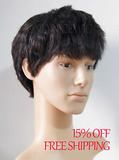 Real natural Human Hair MAN Men 's short full wig hairpiece toupee Old man wigs