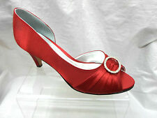 LADIES GLITZ BURGUNDY SATIN PEEP TOE DIAMANTE BRIDAL WEDDING PARTY SHOES M019