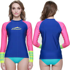 New Woman Long Sleeve Sun Shirt UV Surf Lycra Rash Guard Swim Skins Swimwear Top