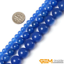 """Natural Blue Agate Gemstone Round Beads For Jewellery Making Strand 15""""4mm-14mm"""