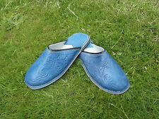 MENS 100% MOROCCAN  LEATHER  *  BLUE  * SLIP ON'S * MULES 5 Sizes available