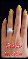 """Charme""""*3.8CT Princess Cut Engagement Diamond Ring Set Fine.22KT St.Silver Italy"""