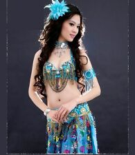 C853-1 Belly Dance Costume Outfit Set Bra Top Belt Hip Scarf Bollywood 2 PCS