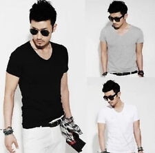 HOT Y OUS Men Slim Fit Cotton V-Neck Short Sleeve Casual T-Shirt Tops hot No.1