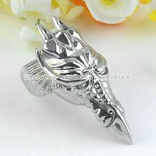 MENS Gothic Punk 316L Stainless Steel Wild Wolf Eagle Dragon Finger Ring US9-12