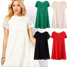 Short Sleeve Summer Mini Casual Women Lace Dress Cocktail Evening Party Dresses