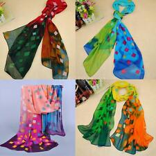 Women Chiffon Scarf Soft Shawl Pashmina Wrap Chequer Print Casual Scarves Gift