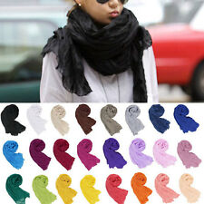New Women Girls Scarf Wrap Pure Candy Colour Crinkle Long Soft Shawl Stole