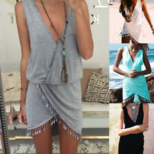 2015 New Ethnic Sexy Summer Beach Sleeveless Asymmetric Hem Party Tassel Dress