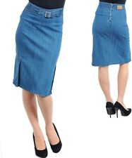 NEW Womens Vintage style DeNiM JeaNS BeLoW KNee HiGH WaiST PeNCiL FiTTeD SKiRT