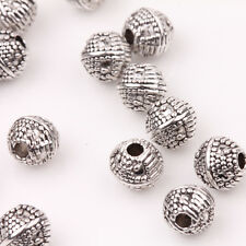 15/30Pcs Tibet Silver Connectors Charms Round Bead Jewelry Making DIY 6mm