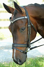 New Black Leather Bling Snaffle Horse Bridle with Reins - Cob or Full size