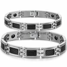Men's Black Carbon Fiber Magnetic Silver Stainless Steel Chain Link Bracelet New