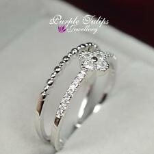 18CT White Gold GP Double Band Four Cloves SWAROVSKI Crystal Pinkie Finger Ring