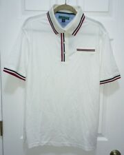 TOMMY HILFIGER GOLF White Navy Blue Red S/S  Pique Polo Shirt NEW Mens S M L