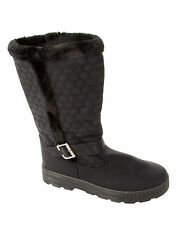 WOMENS BLACK FULLY FUR LINED ZIP MID CALF FLAT WINTER BOOTS LADIES UK SIZE 3-8