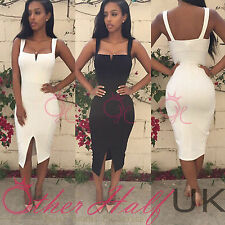 UK WOMEN SEXY TALL SLIM BODYCON BANDAGE DRESS LADIES PARTY PENCIL DRESS SIZE8-16