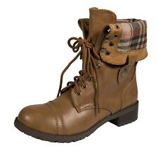 ORALEE! Soda Women's Military Fold-Over Lace Up  Lug Sole Combat Ankle Boots